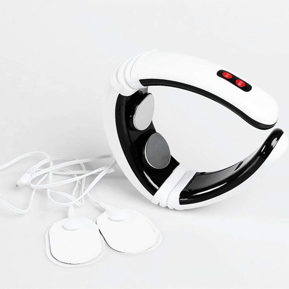 BFHCVDF Electric Pulse Back Neck Massager Cervical Vertebra Treatment Instrument White & black