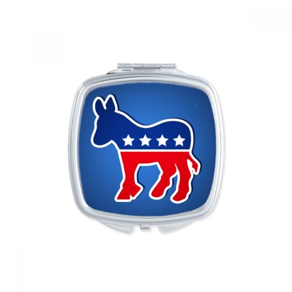 America The United States Donkey Emblem Democratic Party Square Compact Makeup Pocket Mirror Portable Cute Small Hand Mirrors Gift