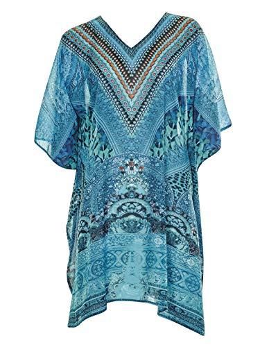 Sunflair 23822-23 Women's Ethno Bohemé Turquoise Aztec Print Poncho