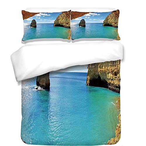 iPrint Duvet Cover Set,Natural Cave Decorations,Stone Gorge and Pavilion Image Asian Faith Temple Architecture Grace Scenery Decor,Multi,Best Bedding Gifts for Family Or Friends by iPrint