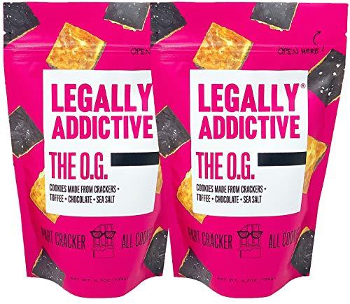 Legally Addictive OG Cracker Cookies - Handmade Gourmet Cookies w/ a Cracker Twist - Crunchy Cookies w/ Cracker, Toffee, Belgian Semi-Sweet Chocolate & Sea Salt - 4.7 Ounces, Pack of 2