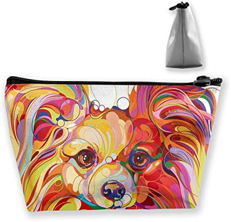 IUZOPQ Multi-Color Long-haired Chihuahua Dog Cosmetic Bags Travel Toiletry Pouch Portable Trapezoidal Storage Pencil Holders