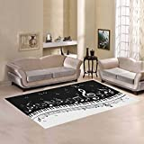Cheap D-Story Sweet Floor Decor Piano Keys With Musical Notes Area Rug Carpet Floor Rug 7'x5′ For Living Room Bedroom