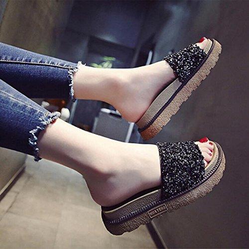 KHSKX-Zapatillas Negras Femenino Verano Bizcocho Gruesos Zapatos De Mujer Se Colocó En La Versión Coreana De La Elegante Desgaste Perforación De Agua Fresca Y De Fondo Plano Calzado De Playa 35