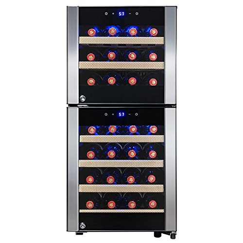 Reviews Dual Cooler Wine Zone (FIREBIRD 33 Bottles Dual Zone Touch Control Built-in Compressor Freestanding Electric Wine Cooler Chiller Refirgeator)