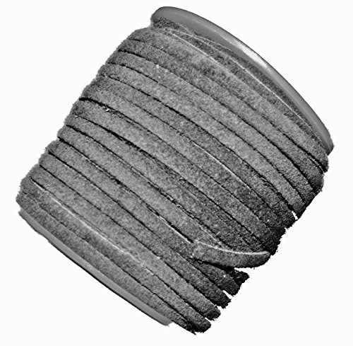 Grey 4mm Flat Genuine Suede Lace Leather Cord 25 Yard Spool 4x1.5mm