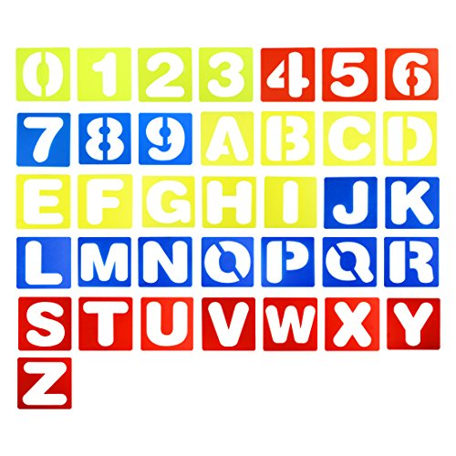 36 Pieces 4 Inches Plastic Letter and Number Stencils Alphabet Stencils Set for Kids Painting Learning DIY, (Blue, Red, Yellow)