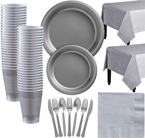 (Amscan Silver Plastic Tableware Kit for 50 Guests, Party Supplies, Includes Table Covers, Plates, Cups and)