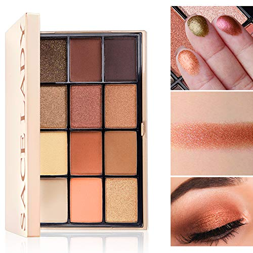 SACE LADY Eyeshadow Palette Riched Color Payoff, Mix of Matte and Shimmer,Smooth Blending Long Lasting Mirrored Compact Eye Shadow Pressed Powder (#01. Natural Palette)