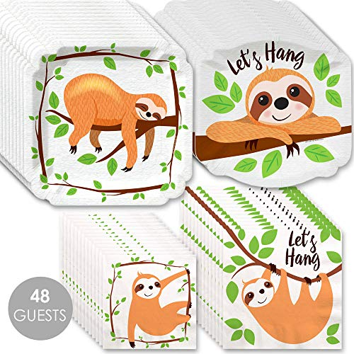 Big Dot of Happiness Let's Hang - Sloth - Baby Shower or Birthday Party Tableware Plates and Napkins - Bundle for - Buffet Plate Green
