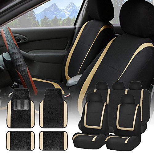 FH GROUP FH-FB032115 Unique Flat Cloth Seat Covers with F14407 Premium Carpet Floor Mats Beige / Black - Fit Most Car, Truck, Suv, or Van