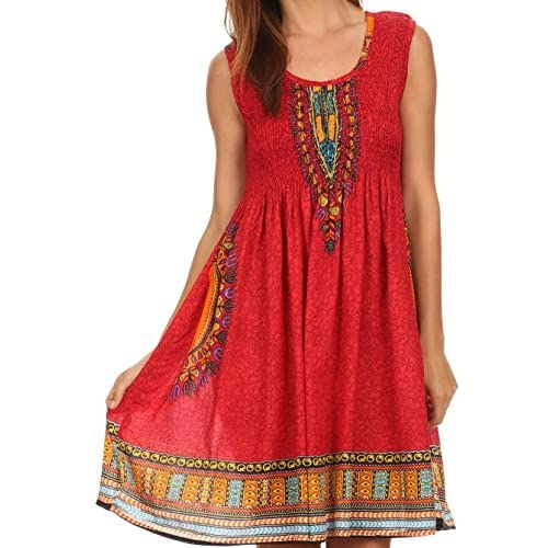 947f7c730 durable modeling Sakkas Zulla Mid-Length Adjustable Tribal Floral Aztec  Batik Tank Top Dress