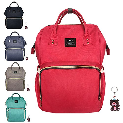 diaper-bag-waterproof-travel-backpack-stylish-nappy-bags-with-multi-function-for-baby-care-red