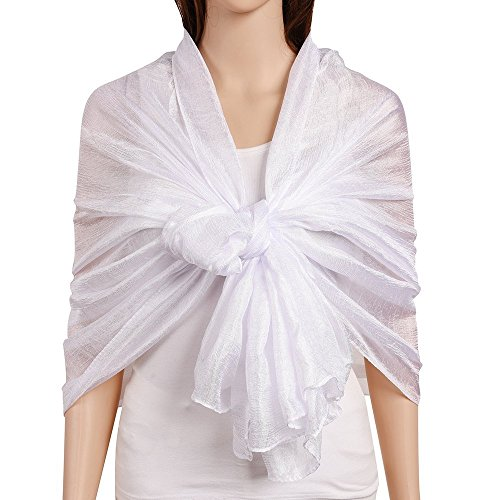 QBSM Womens Large Solid Soft Silky Bridal Evening Wedding Party Scarf Shawl Wrap (White) by QBSM