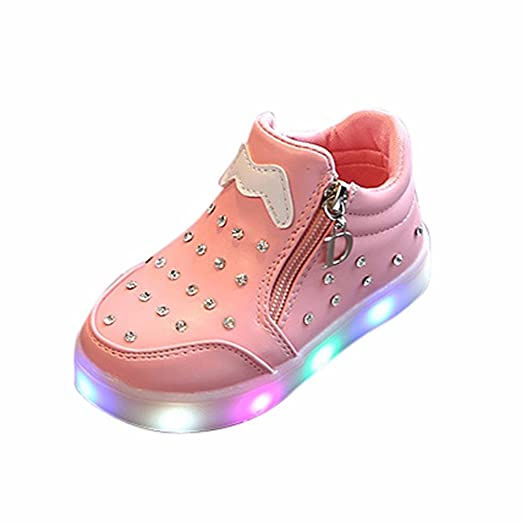Moonker Baby LED Shoes for 1,6 Years Old,Boys Girls Kids Zip Crystal Light  up Luminous Sneakers Casual Walking Shoes