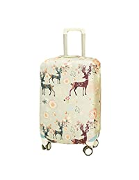 Artone Pastoral Flower Bird Deer Washable Spandex Travel Luggage Protector Baggage Suitcase Cover Fit 28-29 Inch Luggage Grey