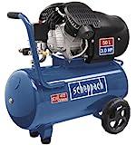 Scheppach 5906101901 Kompressor HC52DC | + Tank 50l, Druckminderer, Kupplungen, Manometer/Doppelzylinder/Fahrvorrichtung/Leistungsstark (3,0 PS Motor/Abgabe 272 l/min/40 kg/230 V)