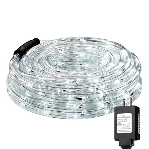 LE LED Rope Lights,33 ft 240 LED, Low Voltage, Daylight White, Waterproof, Connectable Clear Tube Indoor Outdoor Light Rope and String for Deck, Patio, Pool, Bedroom, Boat, Landscape Lighting and More