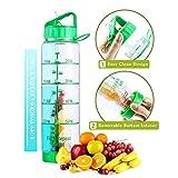 Easy Clean 32 Oz Straw Water Bottle, Eco Friendly Measurement Markings Water Bottle