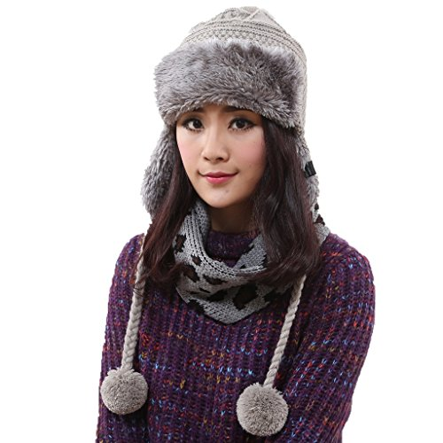 Home Prefer Womens Thick Trapper Cable Knit Earflap Winter Hat with Pom