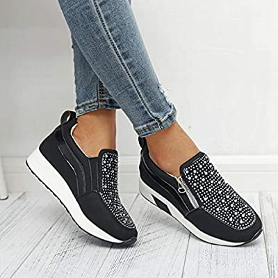 Dainzuy Women's Platform Sneakers Wedges High Top Shoes Increase Fashion Ankle Flat Loafers Zipper Sneakers for Women: Clothing