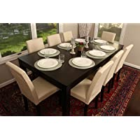 Formal 9 Piece - 8 Person Butterfly Extension Table 42 x 78 and Chairs Dining Dinette - 150250 Ivory Leather Parson Chair