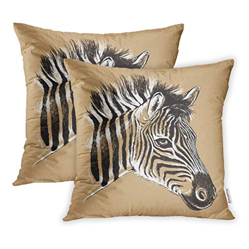 Emvency Set of 2 Throw Pillow Cover Cushion Case Decorative 18 x18 Inch Zebra Black and White Line Drawing of Baby Zebra's Face Safari Sketch Head Africa Pillowcase Two Sides Print Covers ()