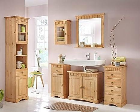 clever-moebel 6 TLG - Set di mobili da bagno, in legno di pino, lucidato e  oliato, per il bagno