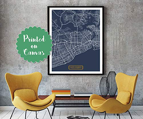 (Santo Domingo Dominican Republic Canvas Large Art City Map Santo Domingo Dominican Republic Art Print Poster map Art jt JackTravelMap)