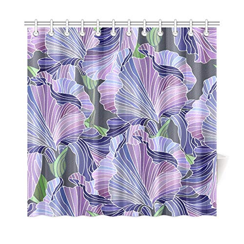 AIKENING Home Decor Bath Curtain Iris Hand Painted Vintage Spring Polyester Fabric Waterproof Shower Curtain for Bathroom, 72 X 72 Inch Shower Curtains Hooks Included