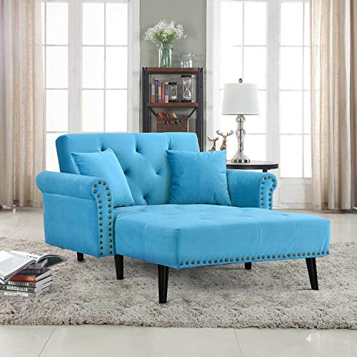 (Casa Andrea Milano Modern Velvet Fabric Recliner Sleeper Chaise Lounge - Futon Sleeper Single Seater with Nailhead Trim (Blue))
