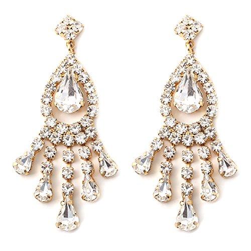 - Gold Crystal Rhinestone Chandelier Drop Dangle Earrings