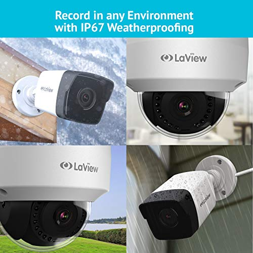LaView HD 16 Channel (2688 x 1520) Business & Home NVR Security System W/ 4 Indoor/Outdoor 4MP Bullet & 4 Indoor/Outdoor 4MP Dome IP POE Surveillance Cameras 100ft Night Vision 3TB HDD