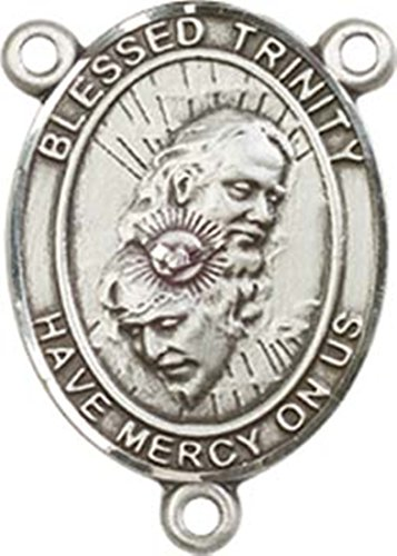 Sterling Silver Blessed Trinity Rosary Centerpiece Medal, 3/4 Inch