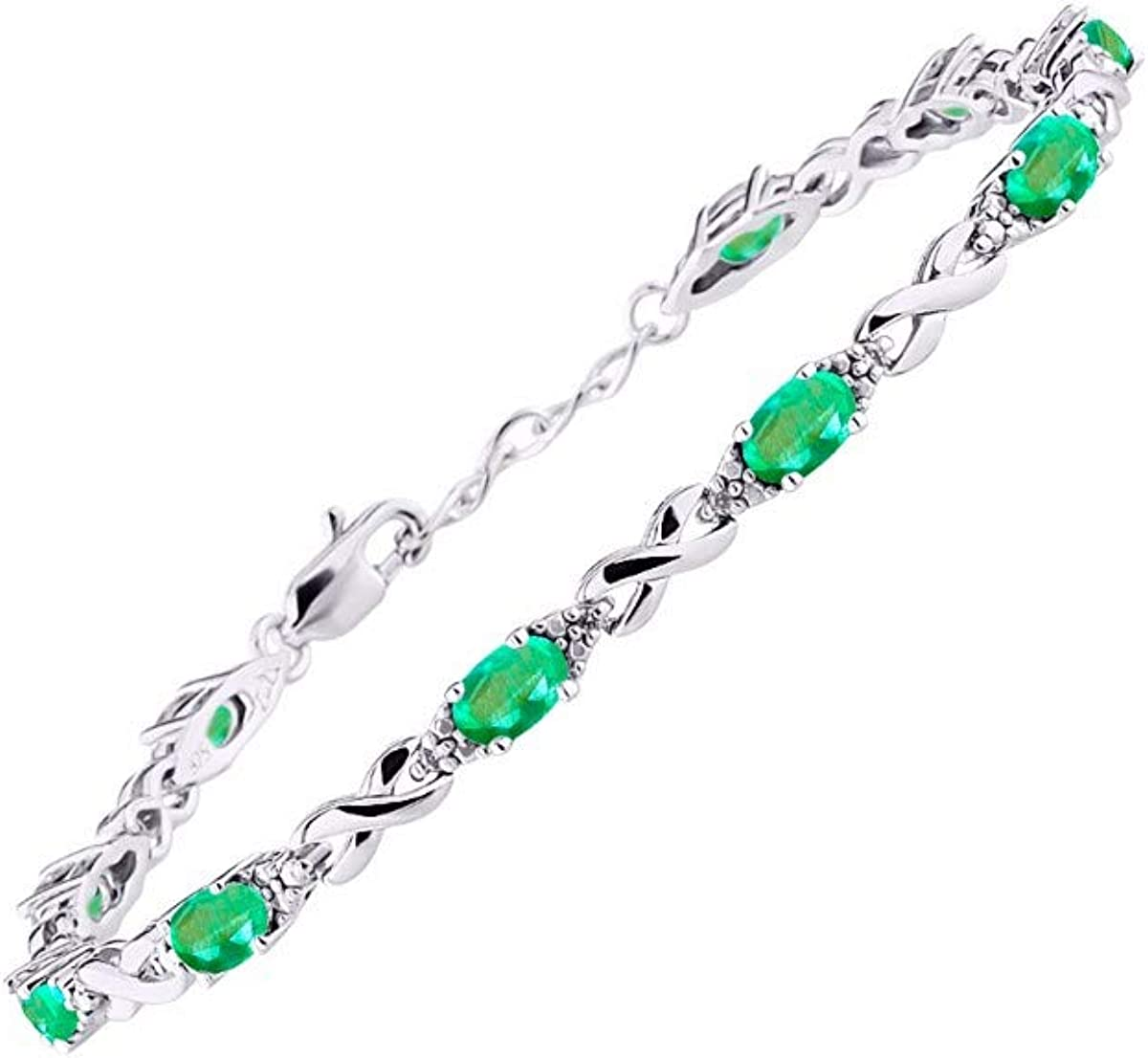Marquise Emerald /& Diamond Adjustable Necklace Set in Sterling Silver .925