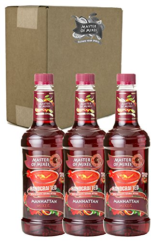 Master of Mixes Manhattan Drink Mix, Ready To Use, 1 Liter Bottle (33.8 Fl Oz), Pack of 3