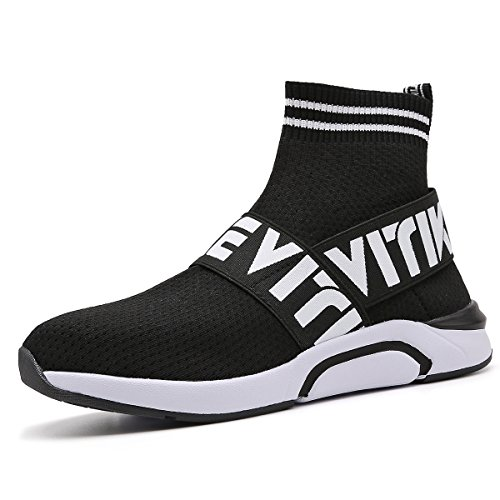 Littleplum Fashion Flyknit Sneakers Running Shoes Breathable Outdoor Casual Sports Shoes Ultra Boost High-top Athletic Socks Shoes Walking Shoes(Kids&Womens) Black
