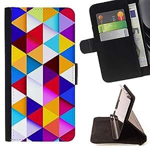 Momo Phone Case / Flip Funda de Cuero Case Cover - Patrón Polígono edificante Azul Limpio - Samsung Galaxy A5 ( A5000 ) 2014 Version
