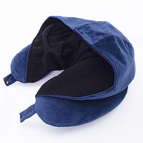 TFTDOUP Ultra Soft Memory Foam Neck Pillow,Plush Velour Hooded Travel Pillow for Airplane, Bus, Train or Office - Bonus Carrying Bag