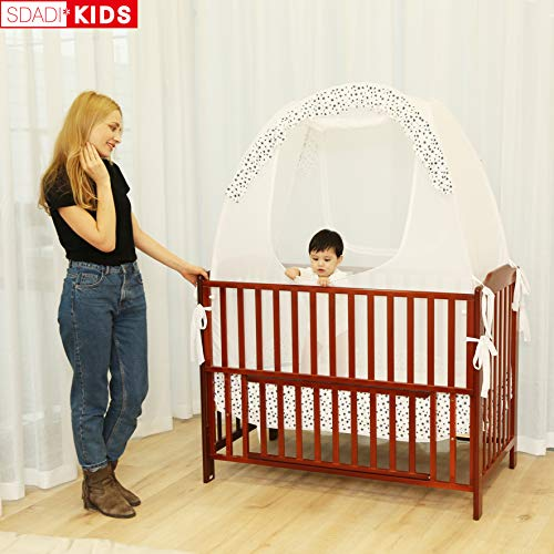 SDADI Baby Crib Safety Tent Pop Up Mosquito Net with Baby Monitor Hang Ribbon,Toddler Bed Canopy Netting Cover |Star WLCN01S by SDADI (Image #5)