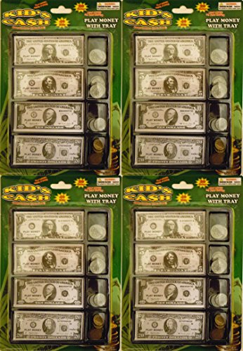 Play Money Set W/bills & Coins in Tray (4 (4 Inch Coin Set)