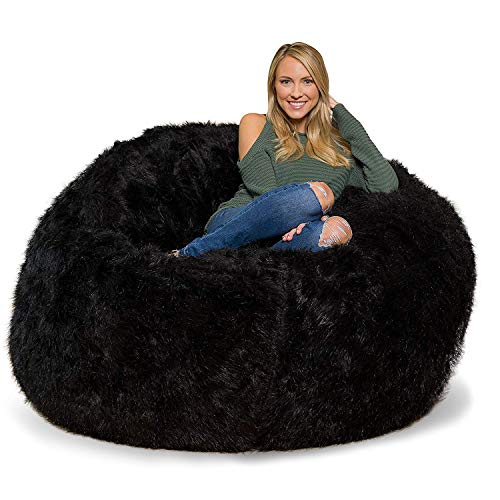 king_stoe01 1 Pc Luxurious Fully Furry Velvet Bean Bag Cover Without Beans in in Black and White Color Xmas Halloween Party Home Decor Gift (Black, X- Large) Bean Bag Black Velvet