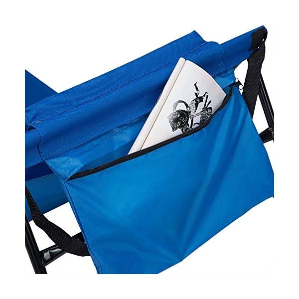 51H2A jq1IL Deuba 2X Strandmatte Faltbar Gepolstert Kissen verstellbare Rückenlehne Staufach Badematte Isomatte Strandtuch Blau