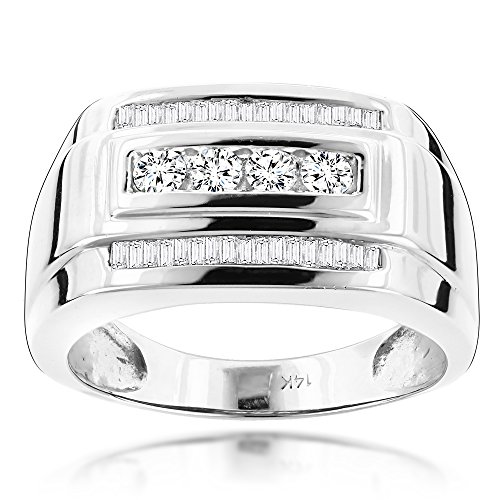 Luxurman 14K Mens Natural 0.8 Ctw Diamond Ring Baguette and Round Cut For Him (White Gold Size 8.5) - Natural Diamond Mens Ring