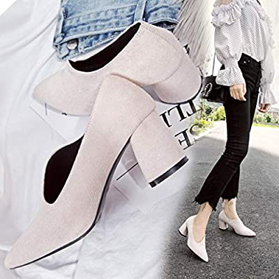 ebcdced5deb4 Amazon.com  Women Fashion Sexy Solid Party Wedding Thick High Heel Pointed  Toe Single Shoes  Home Audio   Theater