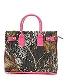 Mossy Oak Licensed Camouflage Fashion Handbag with Shoulder Strap Hot Pink
