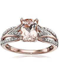 10k Pink Gold Morganite and Diamond Cushion Ring (1/10cttw, I-J Color, I2-I3 Clarity), Size 7
