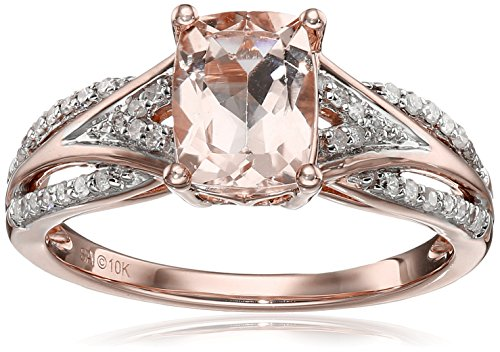10k Pink Gold Morganite and Diamond Cushion Ring (1/10cttw, I J Color, I2 I3 Clarity), Size 7