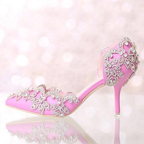 XIE Mujeres de la boda de zapatos / dama de honor y la novia / Rhinestones Flor / tacón de aguja / dedo punta / Sandalias de tacón alto Pink