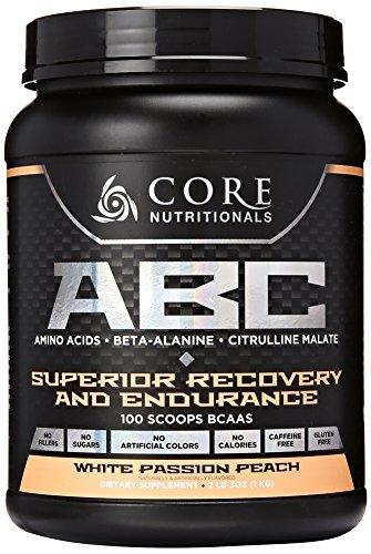 Core Nutritionals ABC Pre-Workout Supplement, White Passion Peach, 2 lb. 3 oz. by Core Nutritionals